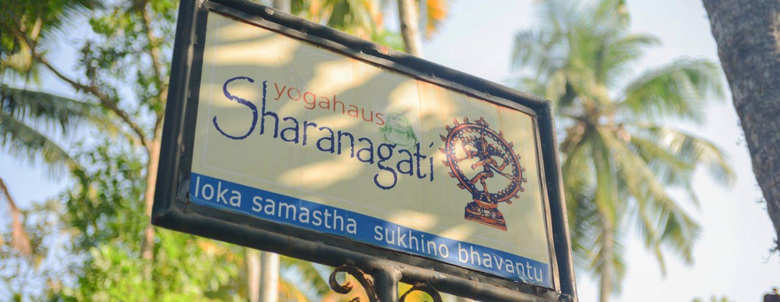 Out side sign of Sharanagati Yogahaus, Thiruvambadi Road, Varkala
