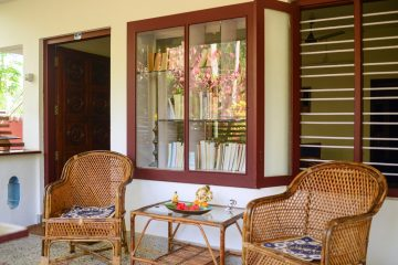 "Nice veranda in ""old style"" Kerala house at your yoga place"