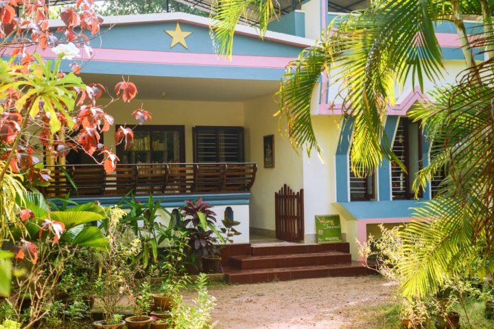 Front view of Sharanagati Yogahaus, old style Kerala Yoga Homestay