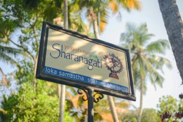 Out side sign of Sharanagati Yogahaus, Thiruvambadi Road, Varkala