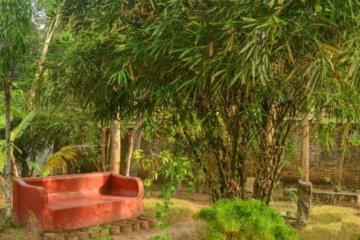 Relaxing area in Yoga Garden