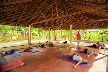 Yoga asana class surrounded by beautiful gardens