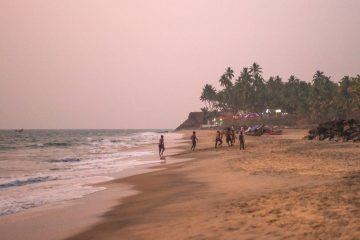 Night view of beach and Varkala cliff
