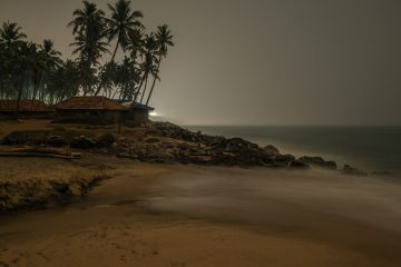 Fishing village at night at Varkala beach