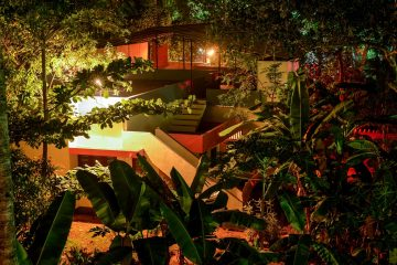 sharanagati yogahaus, with second yoga platform at night